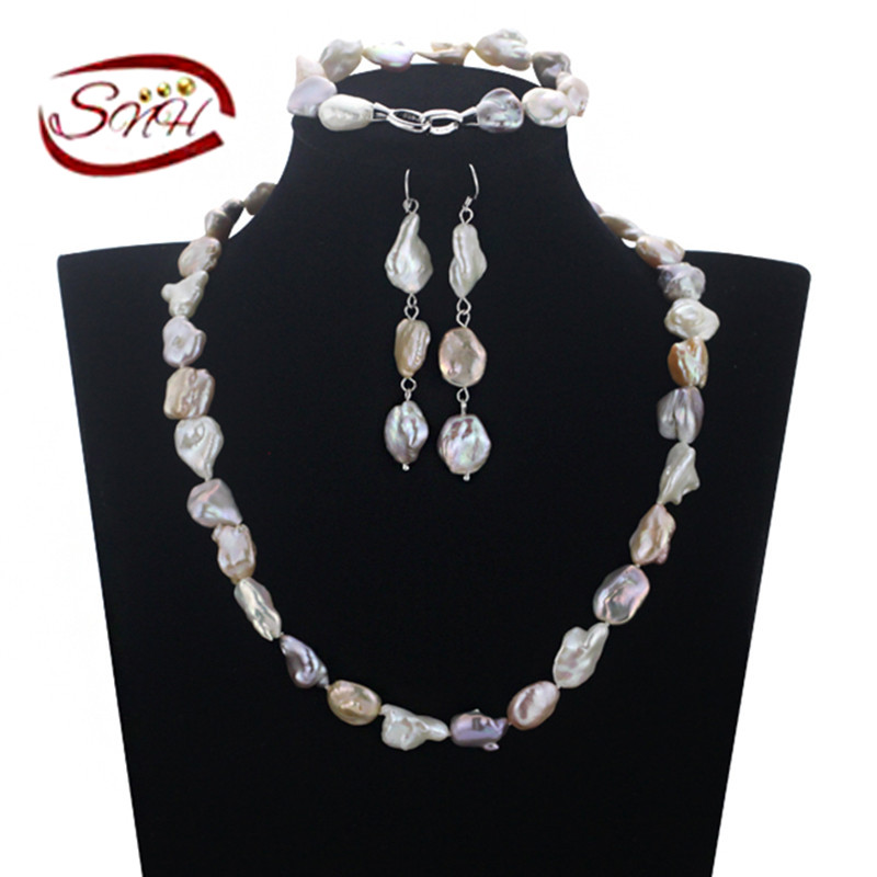 SNH 925 sterling silver jewelry set 12mm keshi mixed color pearl set natural pearl set with free shippingSNH 925 sterling silver jewelry set 12mm keshi mixed color pearl set natural pearl set with free shipping