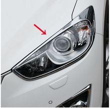 Подходит для MAZDA CX-5 CX5 2013 2014 2015 Хром Передняя фара Крышка лампы фар TRIM веко 2 шт. аксессуары