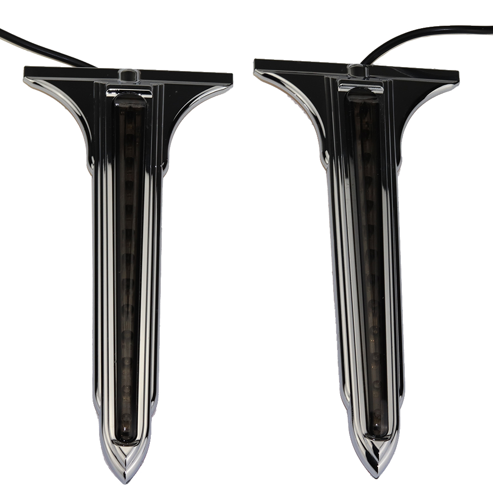 Chrome Wedge LED Rear Saddlebag Side Accents Lights w// Smoke Lenses For Harley