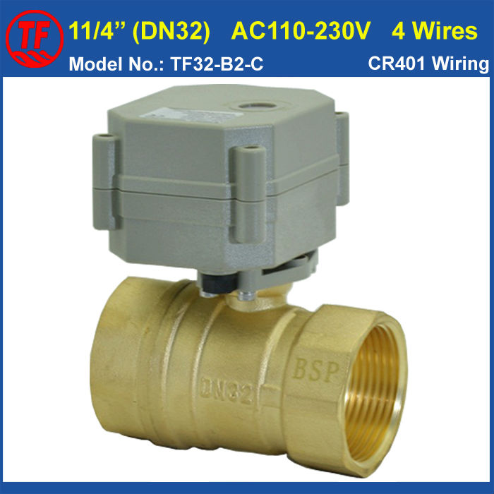 ФОТО BSP or NPT Thread For Option AC110V-230V 4 Wires Brass 11/4'' Motorized Ball Valves DN32 Actuated Ball Valve With Indicator CE