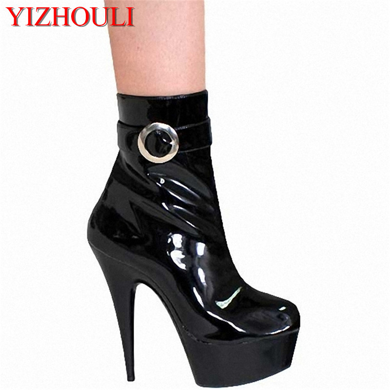 15cm womens ankle short boots buckle autumn winter platform motorcycle boots for 6 inch high heels15cm womens ankle short boots buckle autumn winter platform motorcycle boots for 6 inch high heels