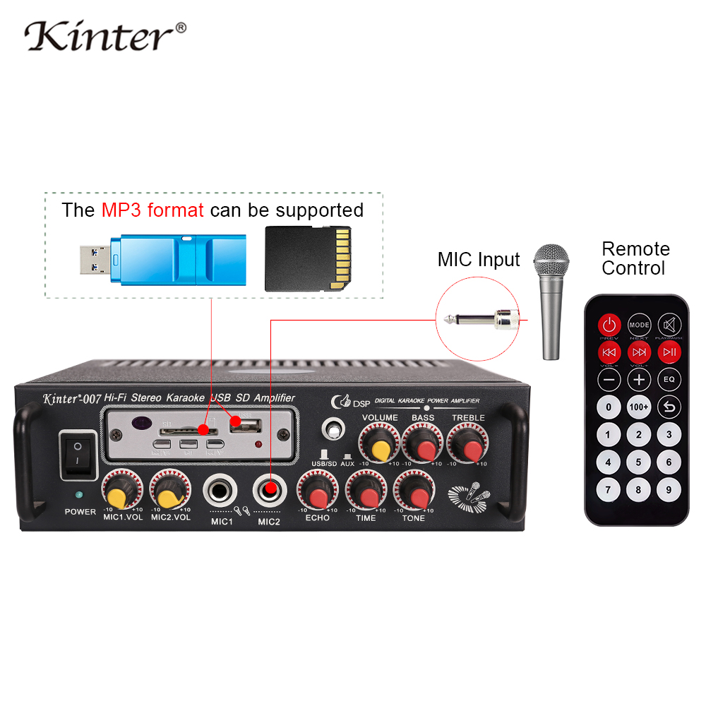 kinter 007 karaoke amplifier audio 2 0CH 30W contro bass treble of music MIC echo tone