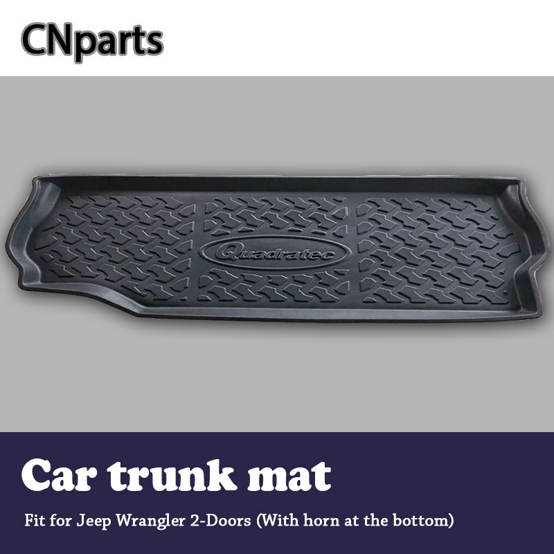 CNparts Car Cargo rear trunk mat For Jeep Wrangler 2 Doors With horn on the bottom