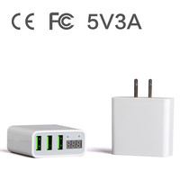 3 USB Wall Charger 5V 3A LED Display For IPhone X 7 6 Plus Power Adapter
