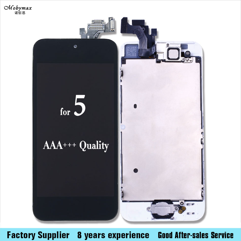 LCD screen For iPhone 5 Full Assembly Display with Touch Screen Digitizer+Front Camera+Home Button Complete for 5 AAA+++quality