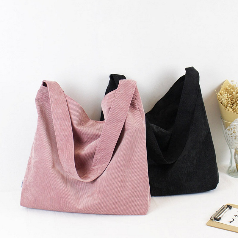 Women Simple Corduroy Handbag Female Vintage Solid Big Eco Casual Tote Spring Autumn Girls Shoulder Bags Bolsa Canvas Sac a Main