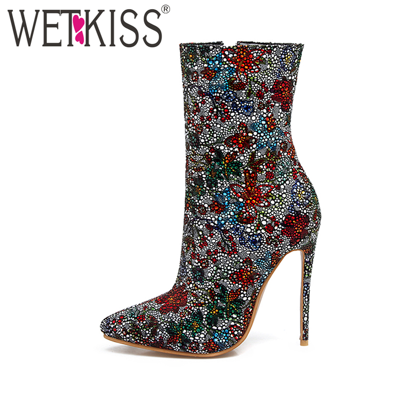 WETKISS Plus Size 33-48 Fashion Women Ankle Boots Bling Bling Thin High Heels Shoes Woman Party Stiletto Pointed toe Winter Boot ...