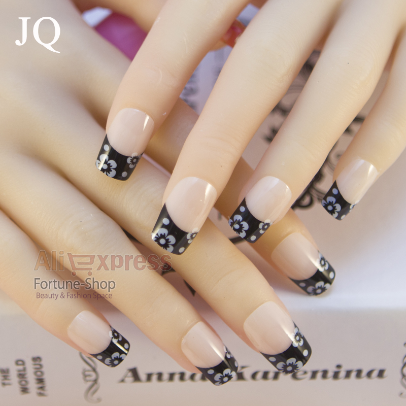 JQ 24pc/set Pretty false nails tips box with glue pre nail designs ...