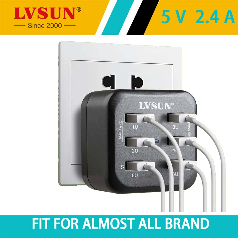 LVSUN 34W 5V 2.4A 6 Ports Adapter Phone Wall Charger Travel USB Charger for iphone 7 6s 6 Samsung Smartphone iPad Tablet EU US