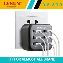 LVSUN 34W 5V 2.4A 6 Ports Adapter Telephone Wall Charger Journey USB Charger for iphone 7 6s 6 Samsung Smartphone iPad Pill EU US