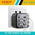 Lvsun 34 w 5 v 2.4a 6 puertos adaptador de teléfono de pared cargador de viaje usb cargador para iphone 7 6 s 6 samsung smartphone ipad tablet ue ee. uu.