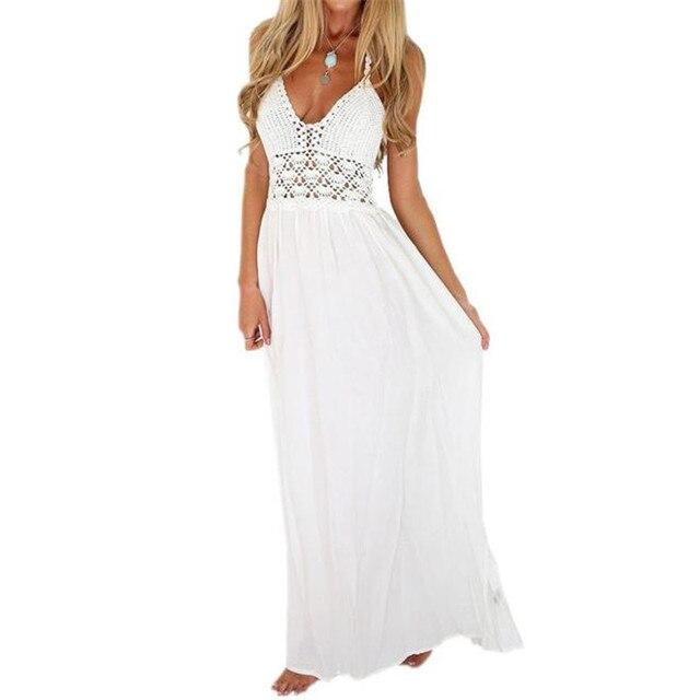 48f58453af3 Women Beach Crochet Backless Bohemian Halterneck Party Maxi Long Dress  Casual Summer Beach White Dress Women Fashion 2018 A20