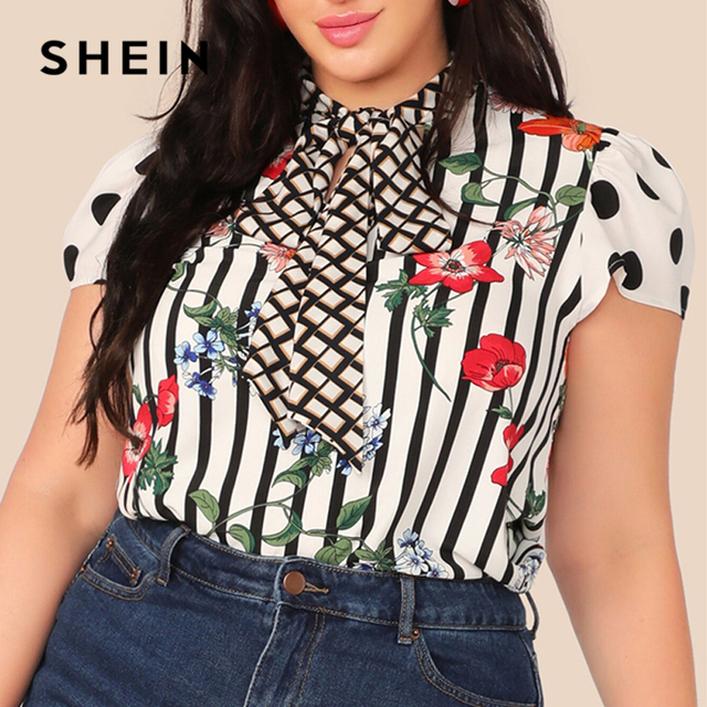 SHEIN Plus Size Multicolor Tie Neck Mixed Floral Print Top Blouse Women Summer Elegant Cap Sleeve Stand Collar Striped Blouses 4