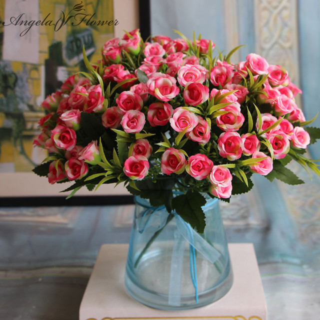 Spring Silk Artificial Small Cute Rose Home Decorations Bridal