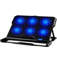 Plaque de refroidissement pour ordinateur portable refroidisseur dordinateur portable Six ventilateur de refroidissement et 2 Ports Usb plaque de refroidissement pour ordinateur portable support pour ordinateur portable pour 13 16 pouces pour ordinateur portable