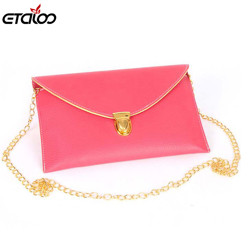 2017 chain envelope women's handbag mortise lock one shoulder cross-body bag small candy color  women's handbag lipstick chain cross body bag