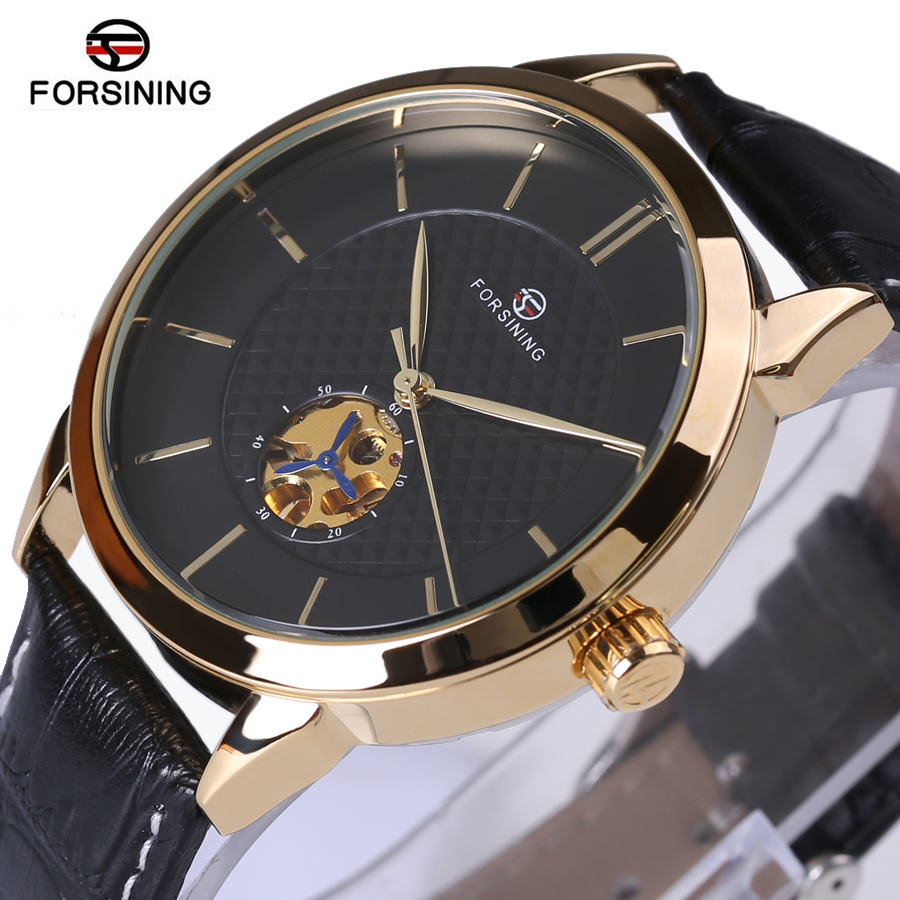 Forsining Classic Business Series Black Golden Case Leather Strap Clock Mens Watches Top Brand Luxury Automatic Mechanical Watch forsining date month display rose golden case mens watches top brand luxury automatic watch clock men casual fashion clock watch
