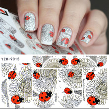 WUF 1 Sheet Fashion Water Transfer 3D Grey Cute Ladybug Pattern Nails Stickers Full Wraps Manicure Decal DIY Nail Art Sticker(China)