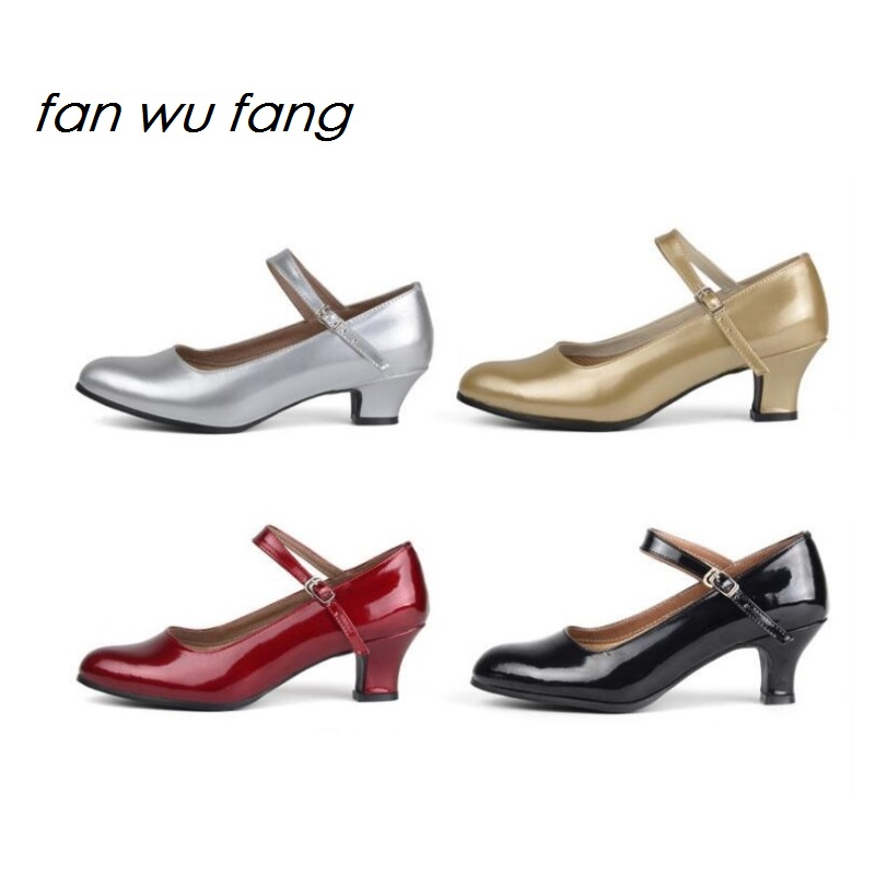 fan wu fang 2017 Ny Ankomst Hot Brand Speil Leather Latin Dansesko Kvinner Voksen Ballroom Sko Low Heel 5CM 4 Color 722