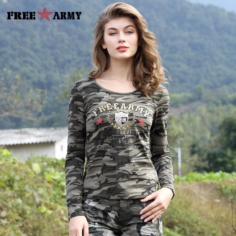 Marka T Koszula Kobiety Drukowania Bawełny Z Długim Rękawem T Koszula Koszule Damskie Topy Tees Wojskowy Slim Elastan Dorywczo Camo Gs-8359B