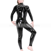 Male Latex Bodysuit Zentai Rubber Catsuit Customes with Inflatable Breast S LCM047