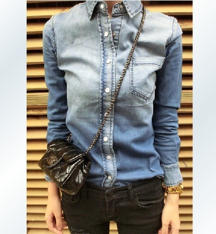 YEMUSEED CD115 Free Shipping 2015 Women Blouse Spring Autumn Long Sleeve Casual Shirt Female Cotton Jeans Women Shirt