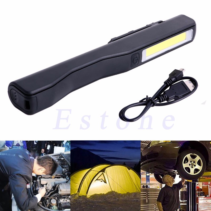 2in1 Rechargeable LED COB Camping Work Inspection Light Lamp Hand Torch Magnetic ...