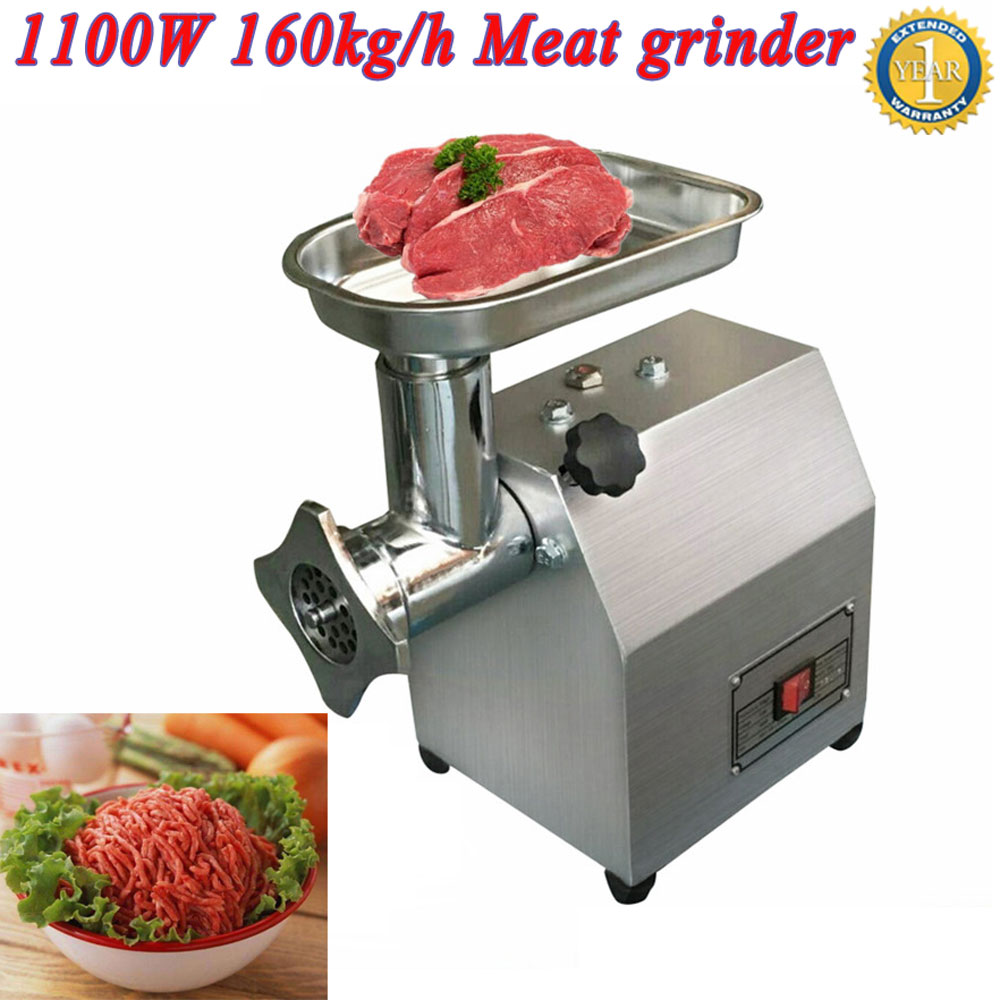 High power 1100w meat grinder W 160kgs h output capacity 190r min electric meat press mincer