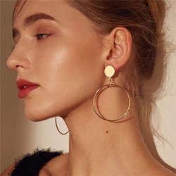 Простые Модные золотые цвет посеребренные геометрический большие круглые серьги для женщин Мода Большой полые Висячие серьги ювелирные