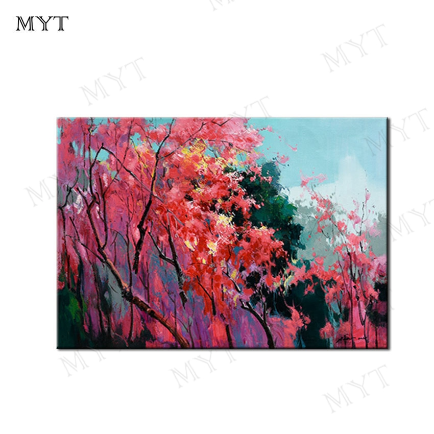 MYT Free Shipping Pink Tree Abstract Painting Large Original Oil Painting Modern Art Contemporary Design Canvas Free Shipping