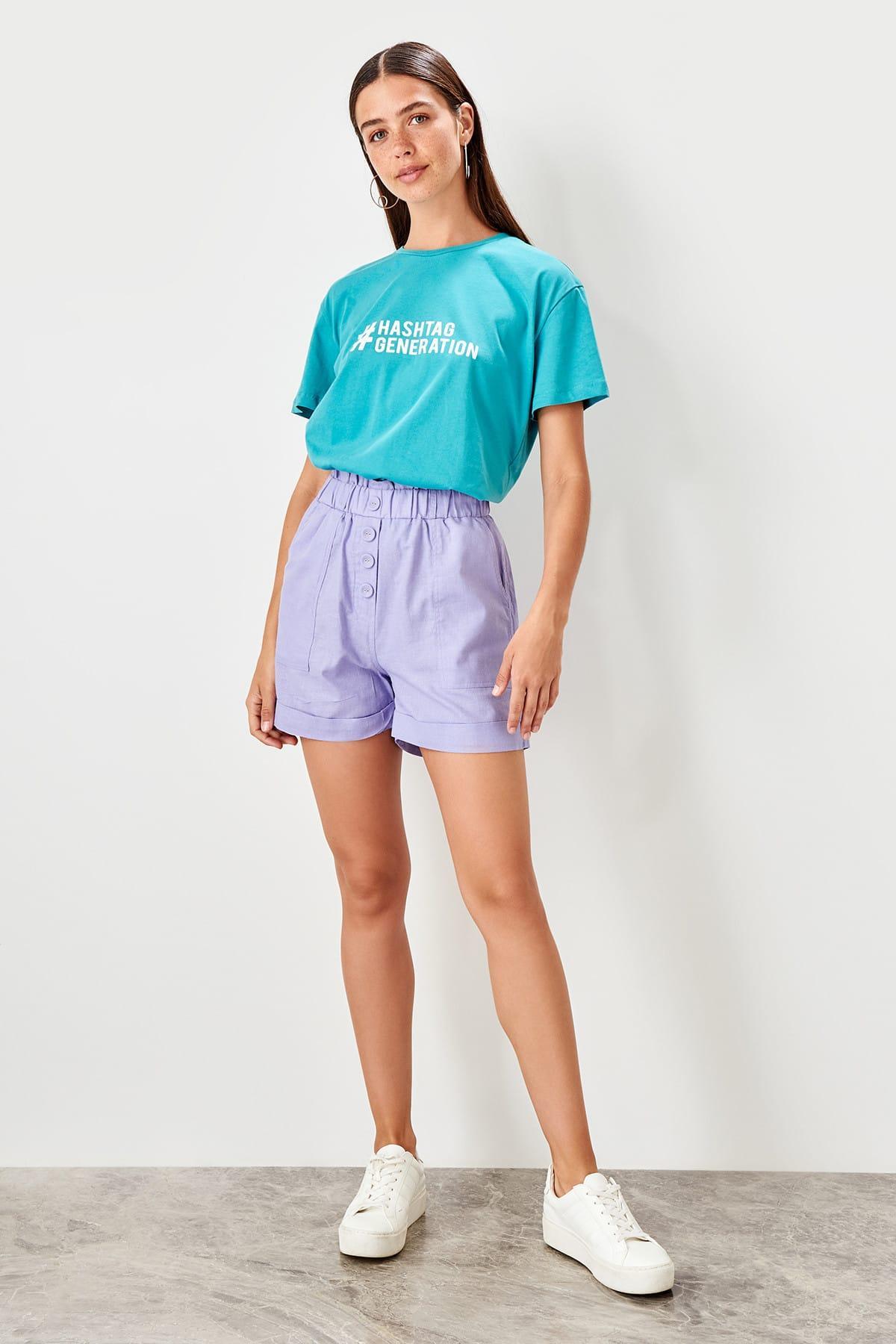 Trendyol Lilac Button Detail Shorts TWOSS19SR0030