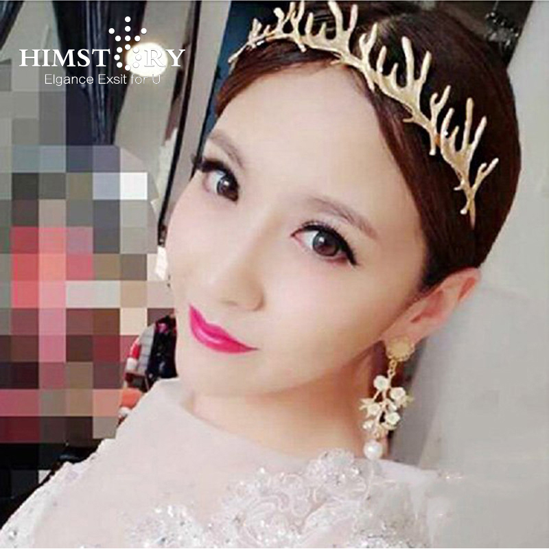 Newest Gold Plated Elk Horn Leaf  Designs Girls Wedding Party Christmas Hairband ,Wedding Hair Accessory