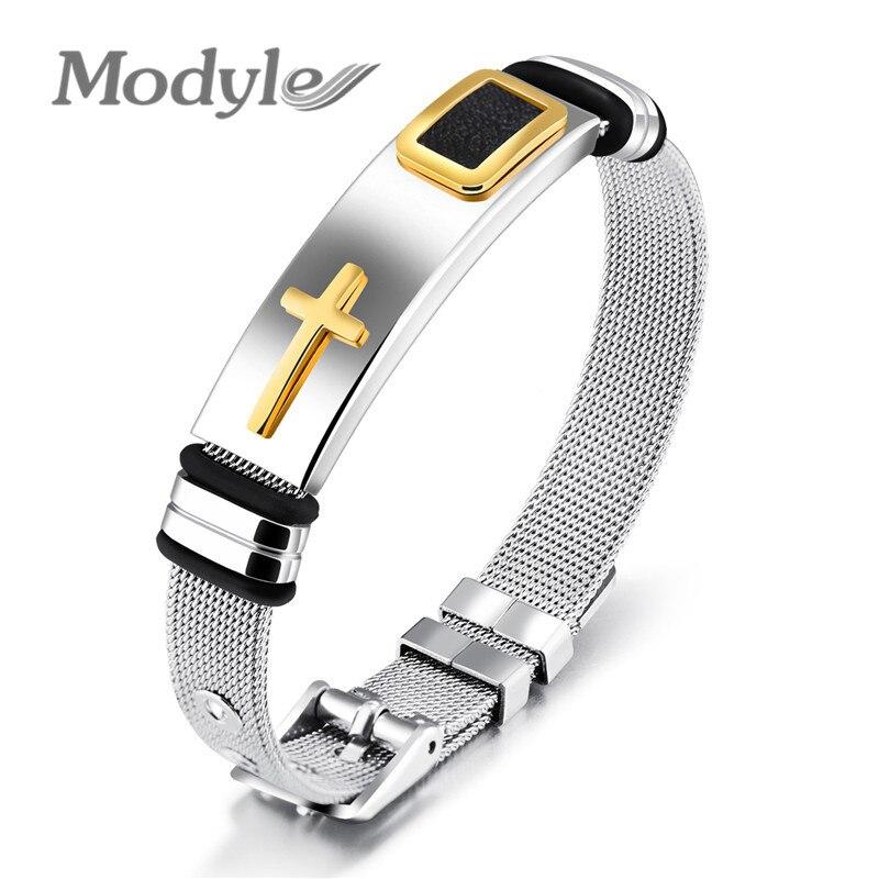 Модный браслет из нержавеющей стали для мужчин и женщин, золотой крест, ювелирные изделия, подарки, 2020