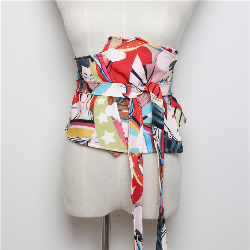 Chic Vintage Print Bowknot Wide Corset Belts Women Dress Waistband Cummerbund Waist Belts Female