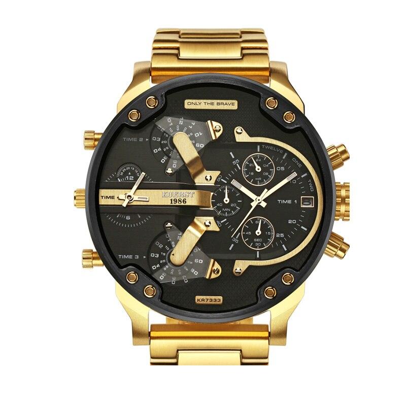 KUERST мужские золотые часы люксовый бренд водонепроницаемые спортивные кварцевые часы Четыре часовых пояса дисплей большой циферблат наручные часы мужские 2019 Новинка - 2