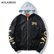 Aolamegs Bomber Jacket Men Gold Joker Print Hooded Plus Size Men's Jacket Hip Hop Outwear Autumn Men Coat Baseball Jackets Brand