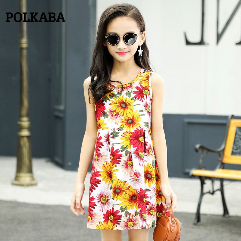2018 1-11Year Toddle Girls Summer Dress Sleeveless Floral Fashion Princess Party Dress Infantis Menina Child Dresses Kid Clothes
