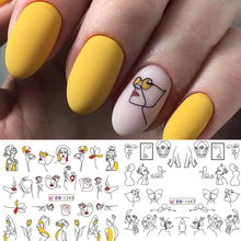 11 patterns Line Girl Water Decals Abstract Nail Slider Stickers Flower Art Transfer Sticker Manicure
