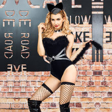 2019 New Sexy Black Cat Women Costume Set Bodysuit Disfraz Gatubela Hot Catsuit Teddy Lingerie Underwear Role Play High Quality(China)