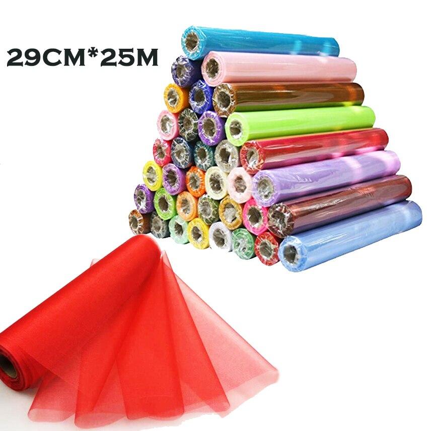26 Mt X 29 CM DIY Organza Sheer Tüll Für Stuhl Schärpen bögen Tischläufer Kleid Stoff Girlanden Hochzeit Startseite Geburtstag Decora