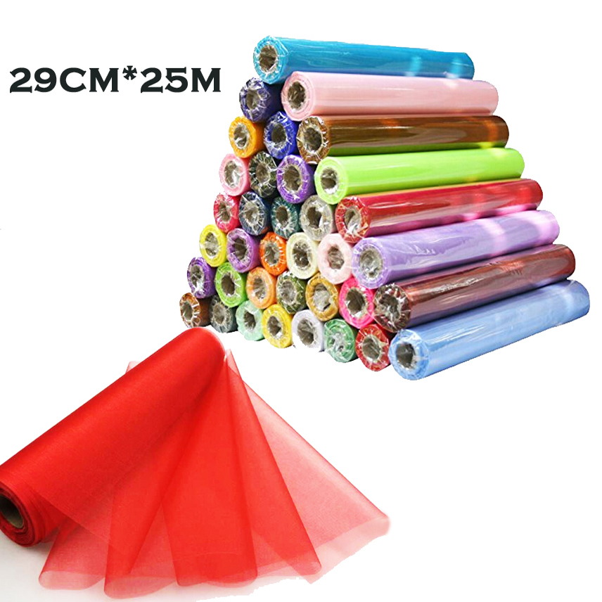 26M X 29CM DIY Sheer Organza Roll Tulle For Chair Sashes Bows Table Runner Dress Fabric Swags Wedding Party Home Birthday Decora