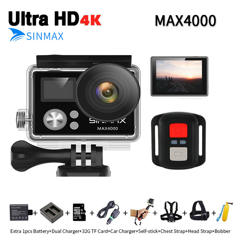 SINMAX Ultra HD yi 4K wifi action camera waterproof Sports DV vs eken H9R go bicycle cam with camera bag /charger/ monopod float ...