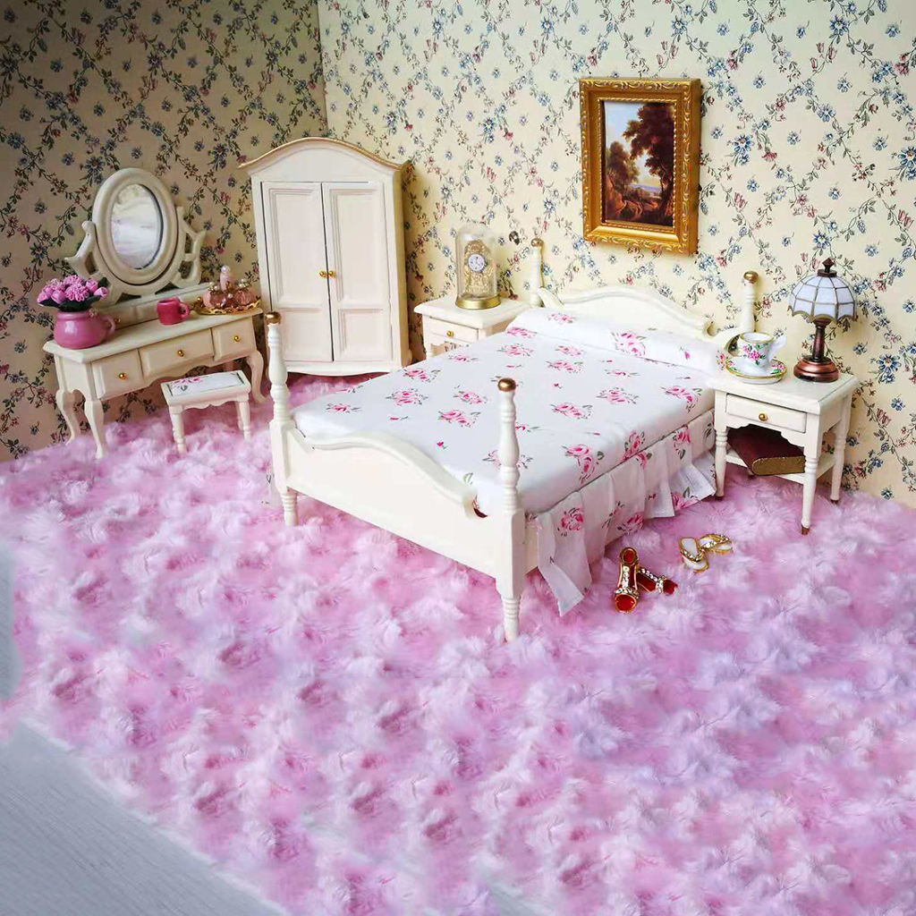 1 12 Scale Dollhouse Bedroom Furniture Set Bed Chair Mirror Dresser Bedside Table 6pcs Set Toys Games Dollhouse Accessories Cristap Pl