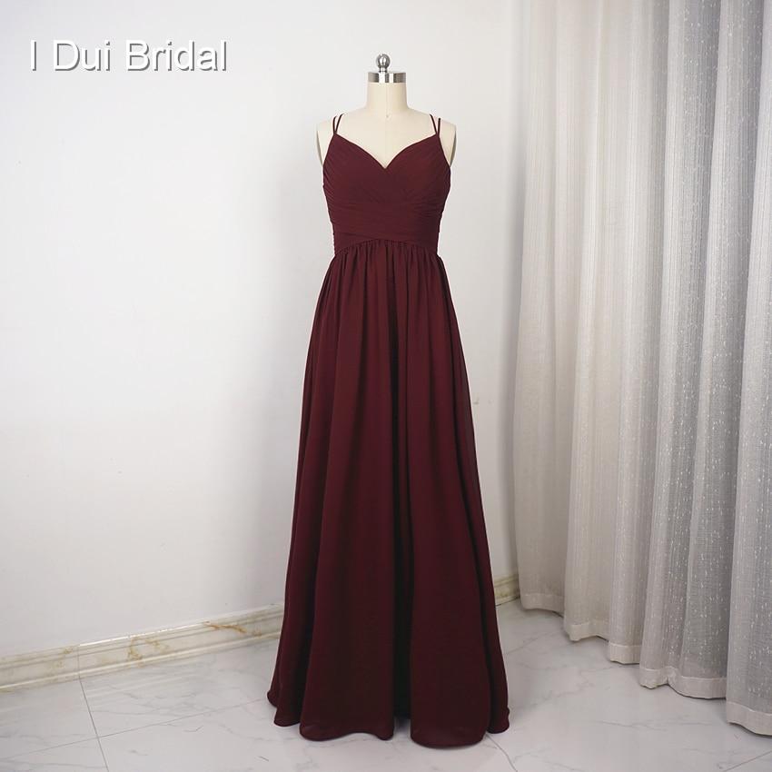 Spaghetti Strap A line Chiffon Simple   Bridesmaid     Dress   Wedding Party Special Occasion   Dress