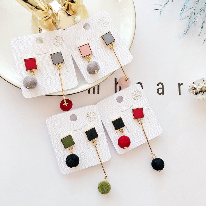 Ajojewel Simple Acrylic Geometric Earrings Women Velvet Ball Asymmetrical Earrings Jewellery Wholesale 3
