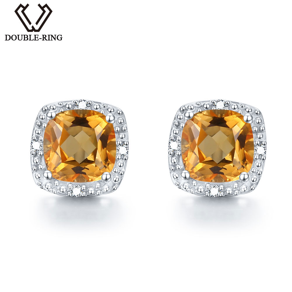 DOUBLE R Natural Citrine Gemstone 925 Sterling Silver Earrings For Women Vintage Costume Jewelry