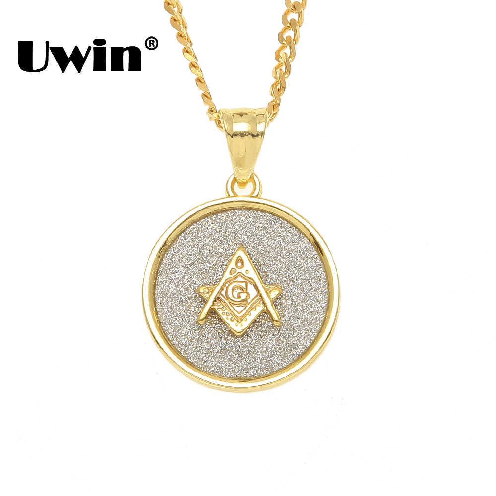 Uwin 5 รูปแบบรอบ Freemason เข็มทิศ, พระเยซู, อินเดีย, Angel, 100 ลูกจี้สร้อยคอแฟชั่นผู้ชายระเบิดทราย Hiphop เครื่องประดับ