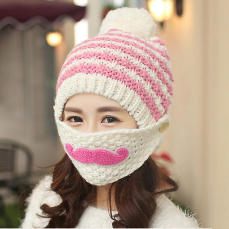 f27c577a6c6 Balaclava Women s Winter Hats Warm Beard Mask Female Plus Velvet Thicken  Wool Knitted Cap Girls Beanie Outdoor Hat With Ears-in Skullies   Beanies  from ...