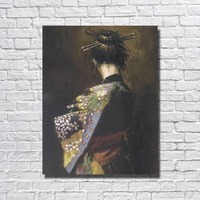 Japanese Oil Painting Living Room Wall Picture Large Canvas Paintings Beautiful Japanese Girl Pictures No framed