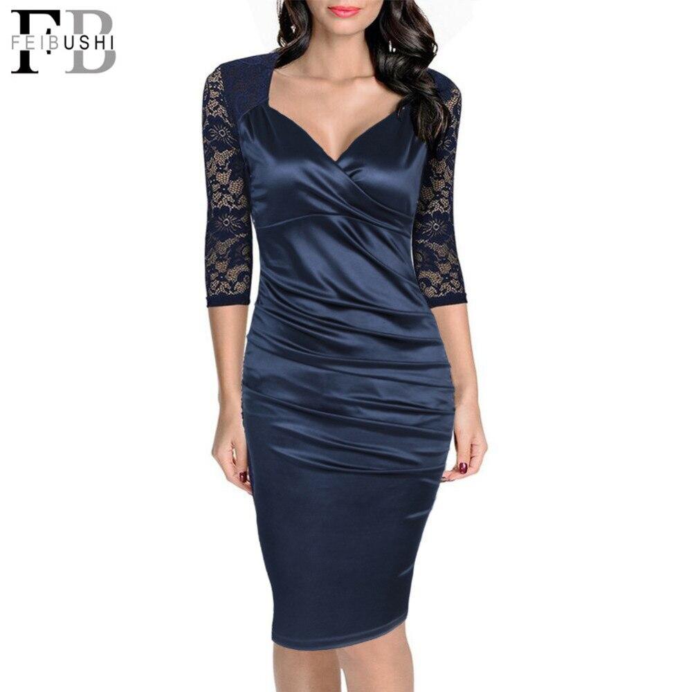 FEIBUSHI 2017 Frauen Sexy Reife Rüsche Vintage Kleid V-ansatz Spitze Patchwork Party Weiblichen Bleistift Kleid Sexy Bodycon Kleider